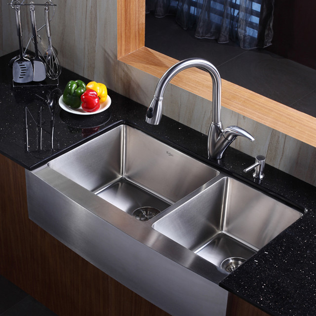 Kraus KHF203-36-KPF2120-SD20 36 inch Farmhouse Stainless Steel Sink ...