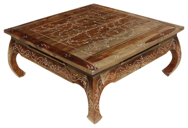 Superior Bone Inlay Wood Opium Square Coffee Table Mediterranean Coffee Tables