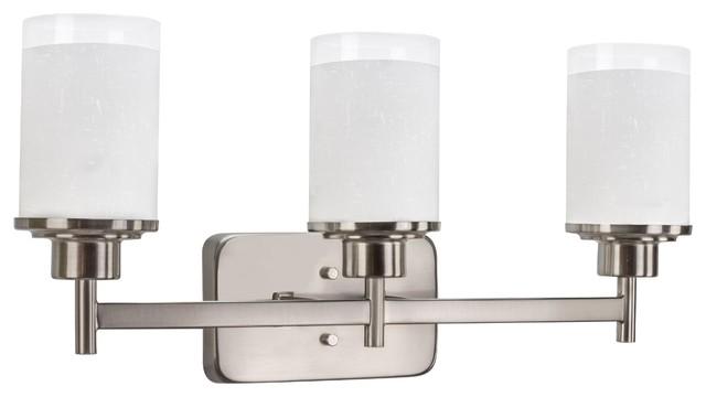 "22"" 3-Light Modern Vanity/Bathroom Light, Brushed Nickel"