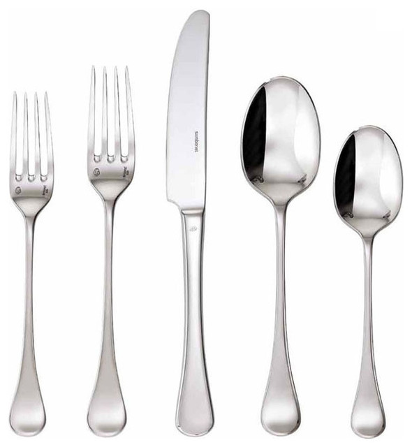 Queen anne 5 piece flatware set stainless contemporary flatware and silverware sets by - Contemporary stainless flatware ...