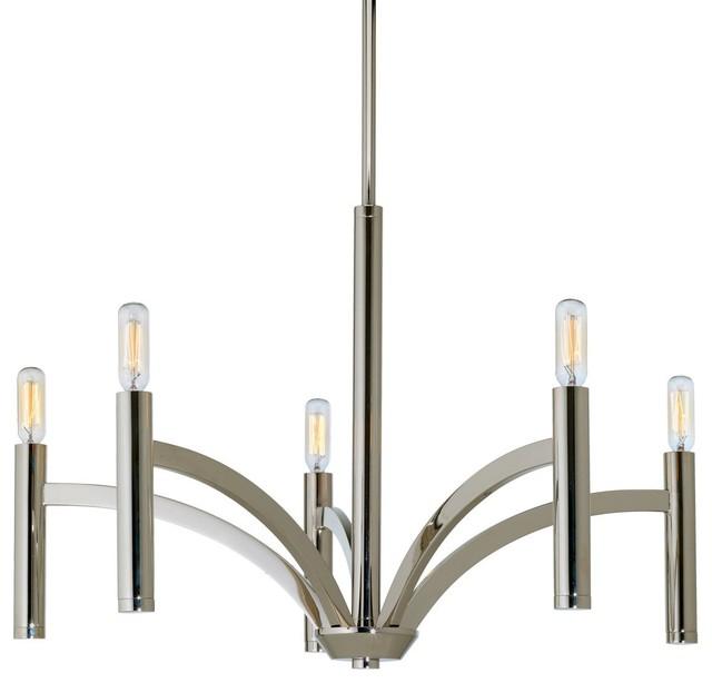 Luxury Modern Chandelier, Bradford Series, Polished Nickel
