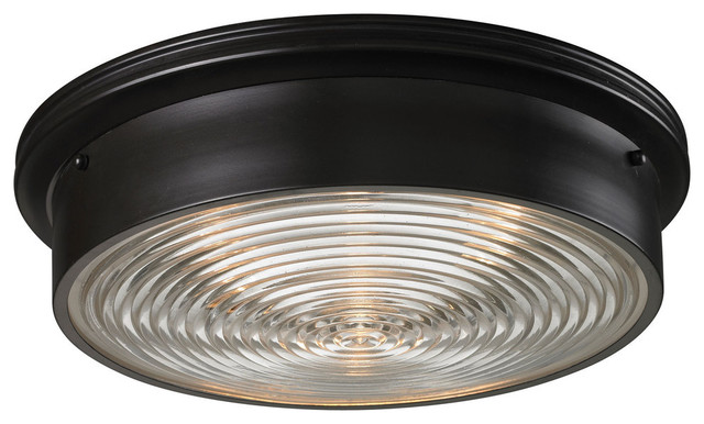 Laurenz 3-Bulb Flush-Mount Light, Oil Rubbed Bronze.