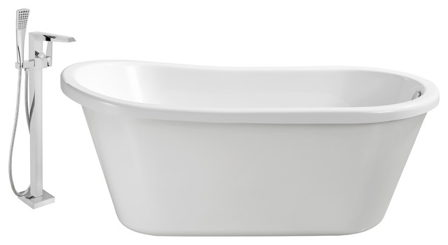"Streamline Freestanding 59"" Faucet And Tub Set, Showerhead H-100."