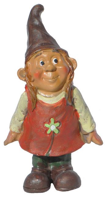 Bashful Gnome Girl For Miniature Garden, Fairy Garden