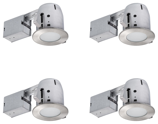 brushed nickel ic rated recessed lighting kit 4 pack led bulbs