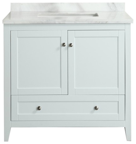 "Eviva Lime 36"" Vanity White With White Carrera Top."