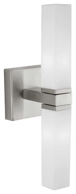 2 light bath bar with opal frosted glass matte nickel modern bathroom