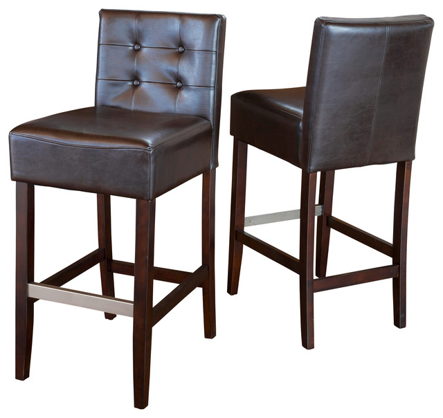 Gregory Bar Stools Set of 2 transitional-bar-stools-and-counter  sc 1 st  Houzz & Gregory Brown Leather Back Stools Set of 2 - Transitional - Bar ... islam-shia.org
