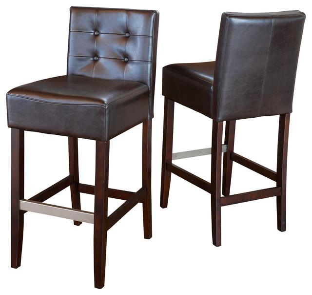 gregory brown leather back bar stools set of 2