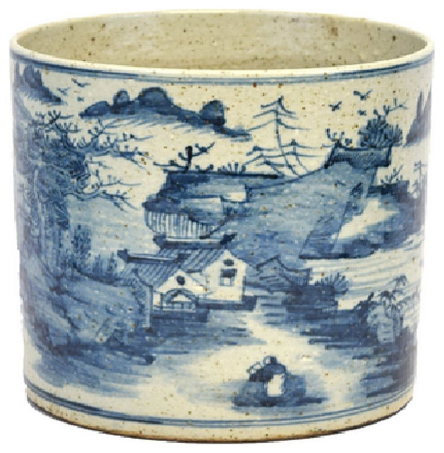 Vintage Style Blue And White Porcelain Landscape Motif Flower Pot 8