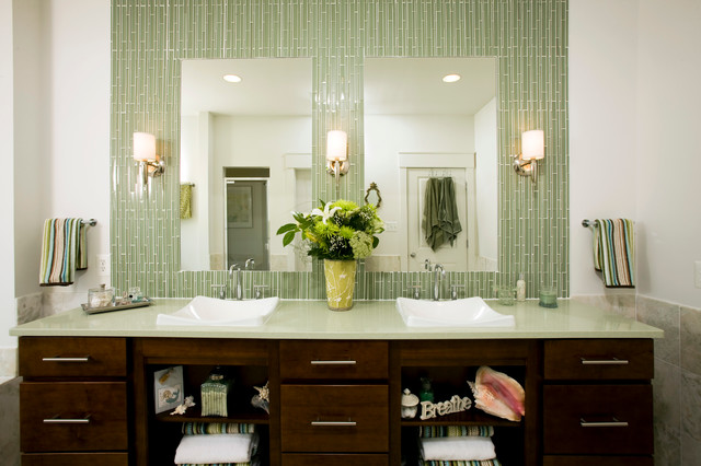 Inspiration For A Transitional Green Tile And Matchstick Bathroom Remodel In Dc Metro With