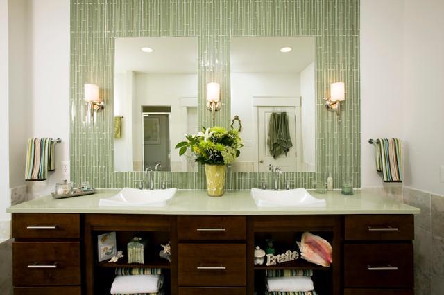 Green Tile Bathroom Transitional