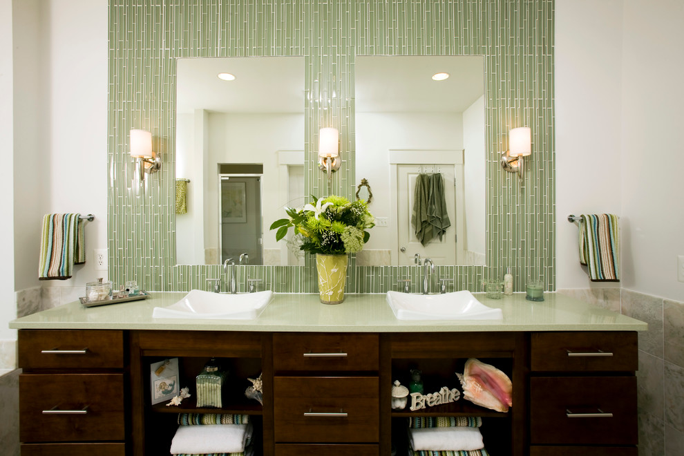 Inspiration for a transitional green tile and matchstick tile bathroom remodel in DC Metro with a vessel sink, dark wood cabinets, flat-panel cabinets and green countertops