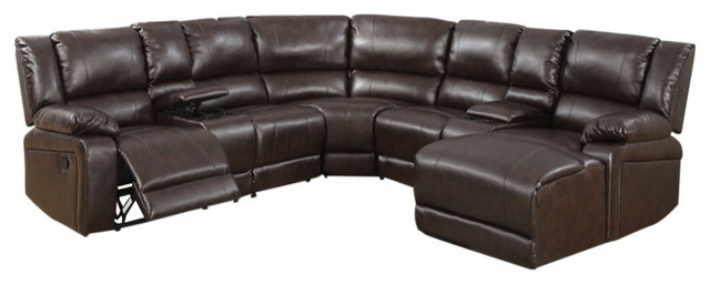 Leather 5-Piece Reclining Sectional, Brown.