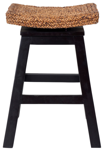 East At Mainu0027s Oakley Black Wood and Water Hyacinth Counter Stool tropical-bar-stools  sc 1 st  Houzz & East At Mainu0027s Oakley Black Wood and Water Hyacinth Counter Stool ... islam-shia.org