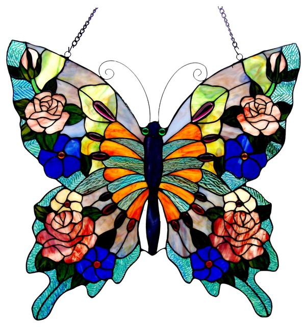 """Chloe Lighting Stained Glass Butterfly Window Panel, 22.5""""x24"""""""