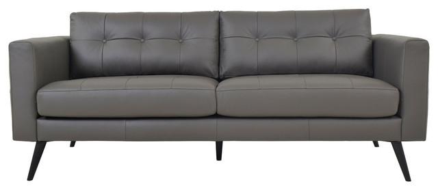 Cortado Leather Sofa, Boulder Gray