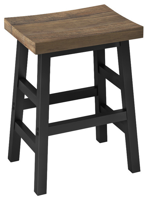Pomona Reclaimed Solid Wood Counter Stool, Metal Legs