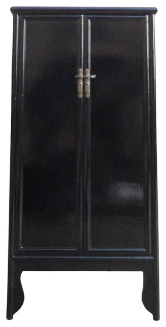 Beau Chinese Oriental Black Lacquer Tall Armoires Cabinet
