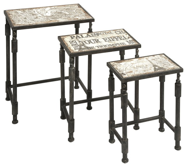 Knoxlin Nesting Tables, Set of 3 Industrial Coffee Table Sets by Pizzazz! Home Decor,
