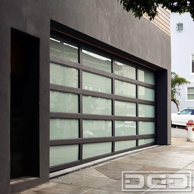 Modern architectural garage door with a sloping bottom for Architectural garage doors