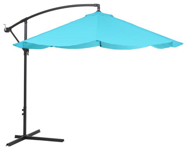 Pure Garden Offset 10 Foot Aluminum Hanging Patio Umbrella Blue