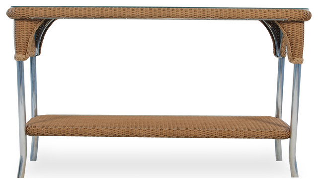 Console Table With Lay On Glass in Traditional Weave and Woodland Finish