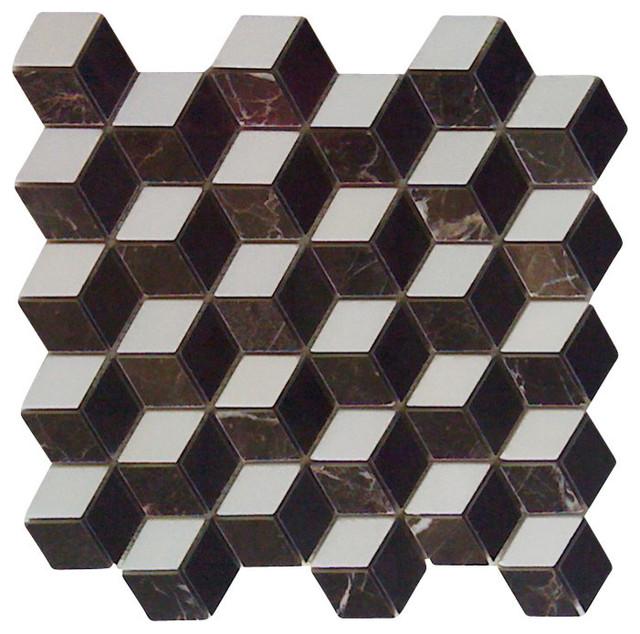 polished illusion 3d interlocking mosaic marble tile single piece