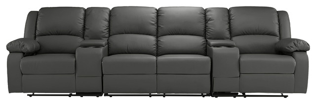 Classic 4-Seater Recliner Sofa Theater Seating With Cup Holders, Gray.