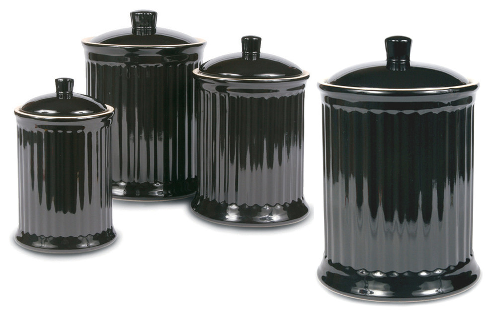 Omniware Simsbury Black Stoneware Canister Set Of 4 Traditional Kitchen Canisters And Jars By Bigkitchen