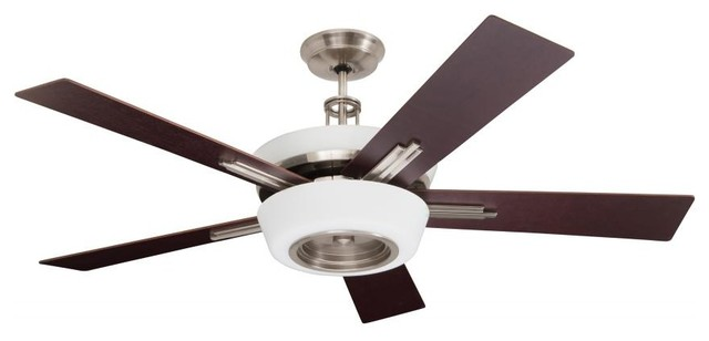 Nine Light Brushed Steel Ceiling Fan.