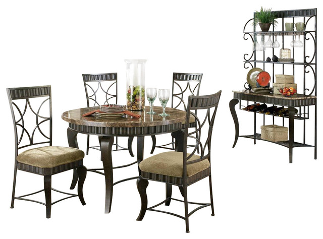 Hamlyn 6 Pc Marble Top Dining Table Set in Pewter Finish ...