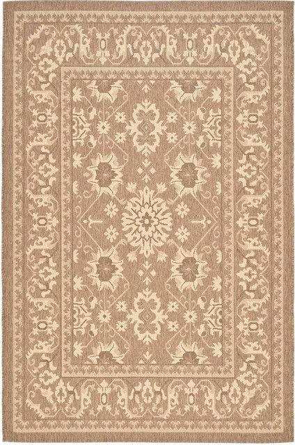 Safavieh Courtyard CY6727 22 Brown Creme Rug Farmhouse Outdoor Rugs by