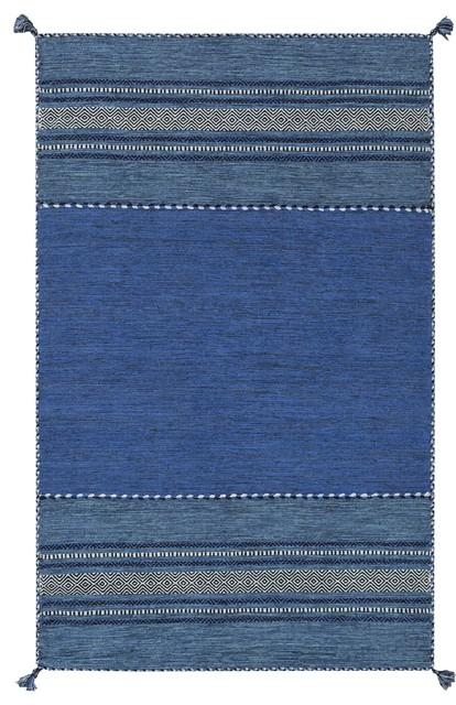 Surya Trenza Trz3003 Black/blue Southwest Area Rug, Rectangular 8&x27;x10&x27;.