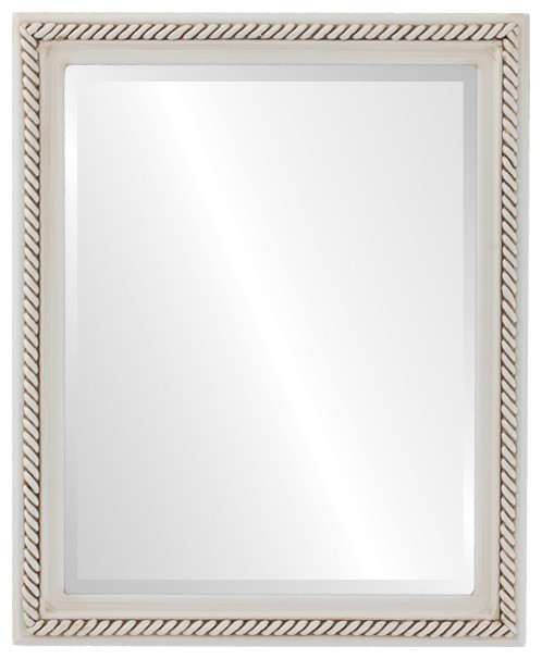 "Santa Fe Framed Rectangle Mirror In Antique White, 26""x38""."