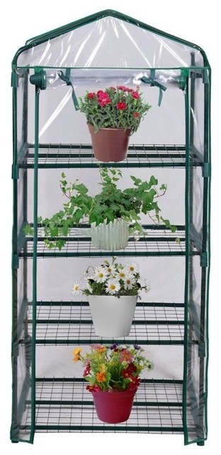 "4-Tier Mini Greenhouse, 27""x19""x62"", Green."