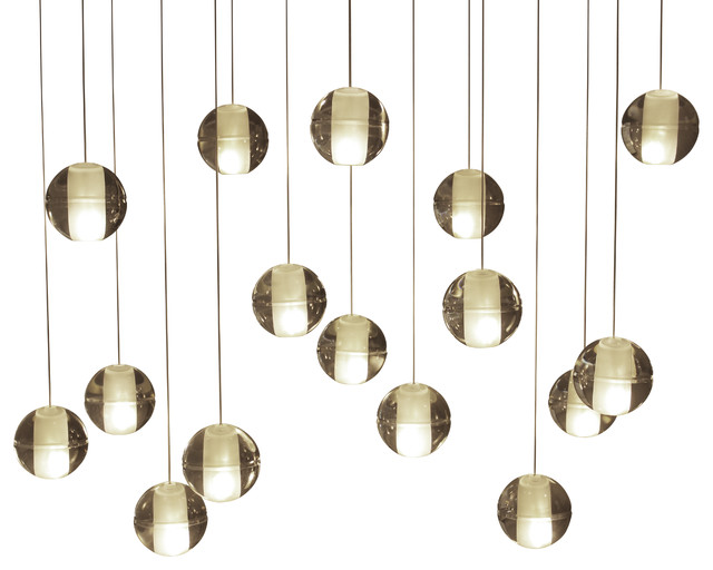 Lightupmyhome Orion 16-Light LED Rectangular Floating Glass Ball Chandelier