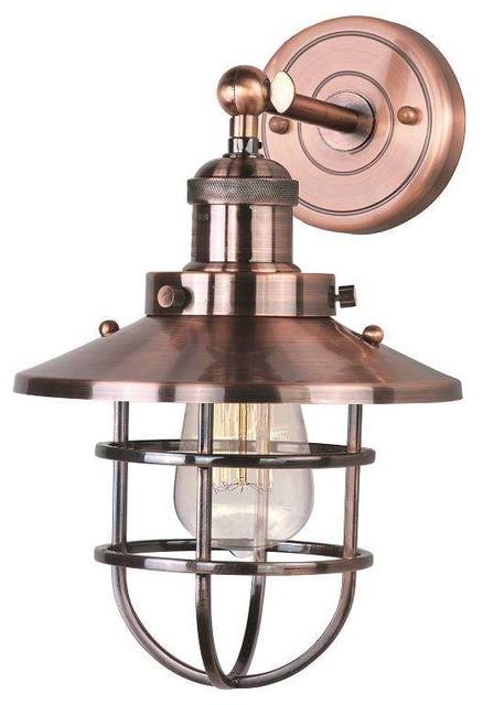 Modern Copper Wall Sconces : Maxim Lighting 25070ACP Mini Hi-Bay Modern Wall Sconce in Antique Copper - Industrial - Wall ...