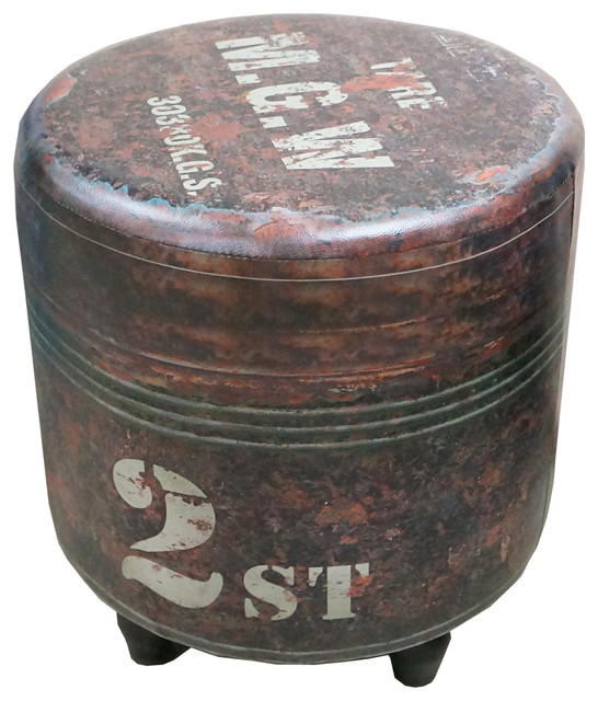 Nach Black Round Industrial Stool Faux Leather 6dx17 5
