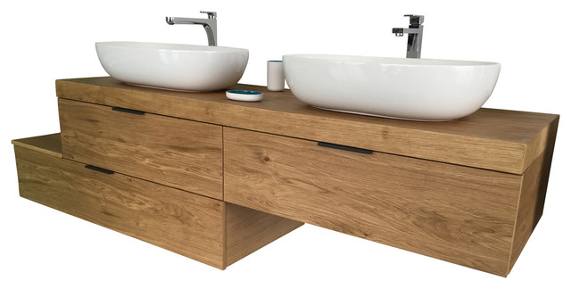 Natura 3 Drawer Unit With 2 Ceramic Countertop Washbasins Cinder Gray