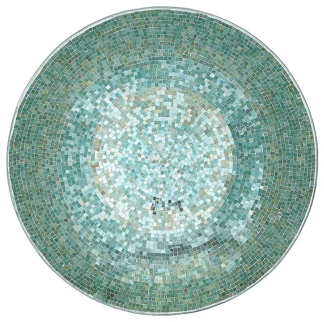 Round Metal Wall Platter Blue Silver Mirror Mosaic Home Accent Decor 27748 Wall Accents