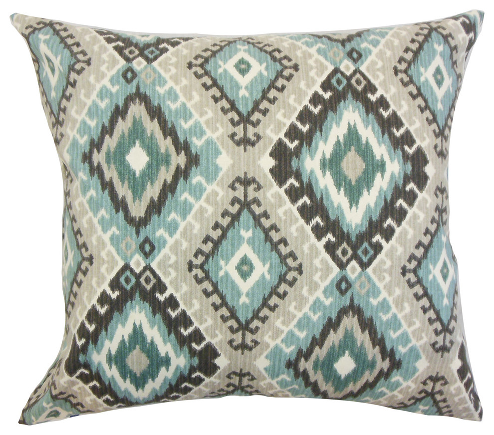 Home Kitchen Throw Pillow Covers The Pillow Collection Ferlin Striped Bedding Sham Turquoise Queen 20 X 30