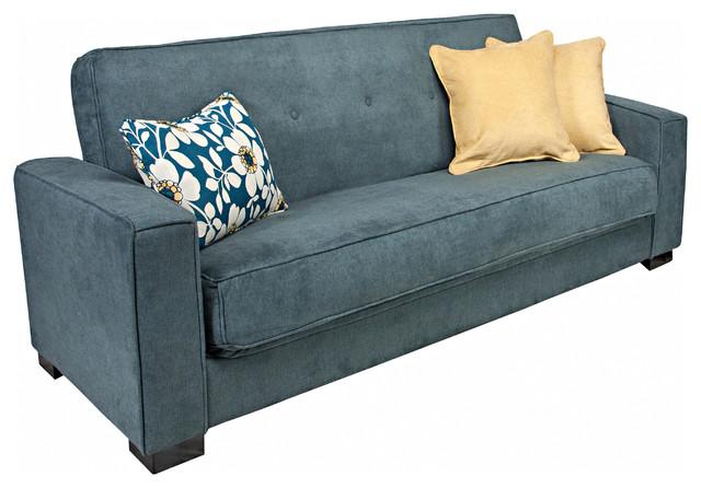Angelo Home Alden Parisian Blue Evening Velvet Convert A Couch Futon Sofa Sleepe