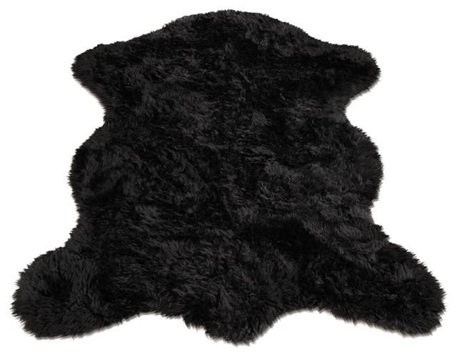 Black Faux Sheepskin Rug Roselawnlutheran