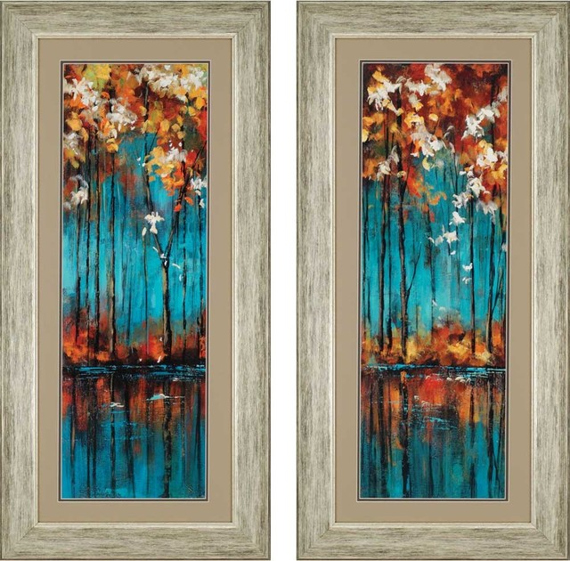 "Wall Art Set Of 2 the mirror artwork, set of 2, 22""x46"" - contemporary - prints and"