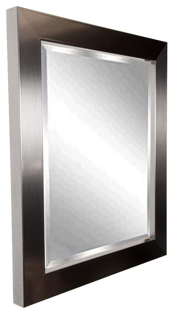 American Made Silver Grande Beveled Wall Mirror, 38x44.