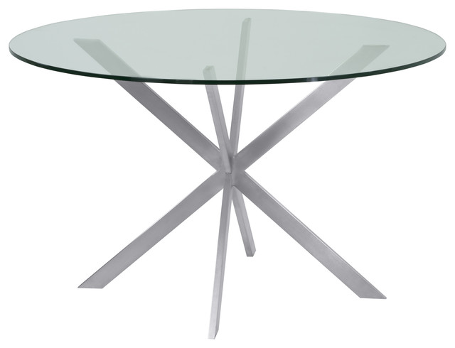 Mystere Brushed Stainless Steel Round Dining Table Clear Tempered Gl Top