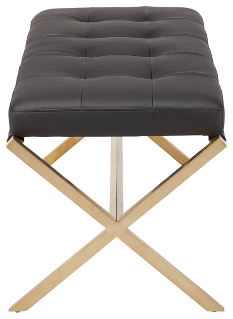 Julian Small Bench, Black And Brushed Gold Stainless, Small. -1