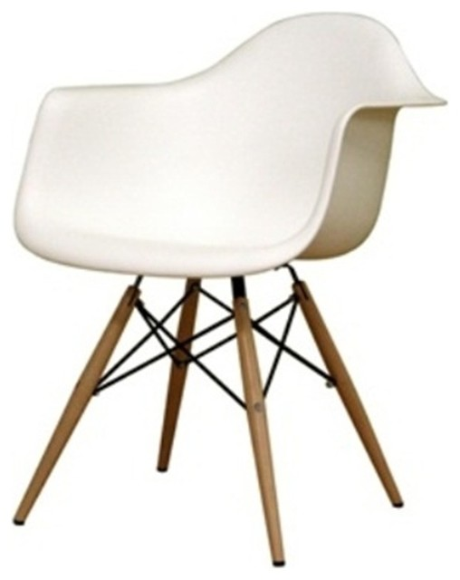 Wood Leg Arm Chair White