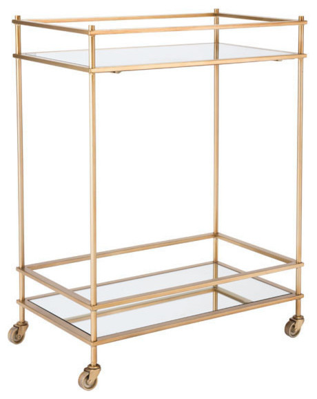 HomeRoots Kitchen, Mirrored Bar Cart, Gold by HomeRoots Kitchen